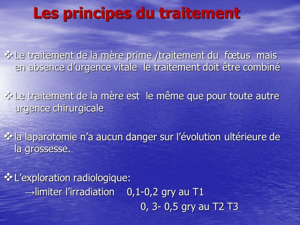 Les principes du traitement Le traitement de la mère prime /traitement du fœtus mais en absence durgence vitale le traitement doit être combiné Le tra