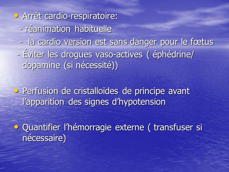 Arrêt cardio-respiratoire: Arrêt cardio-respiratoire: - réanimation habituelle - réanimation habituelle - la cardio version est sans danger pour le fœ