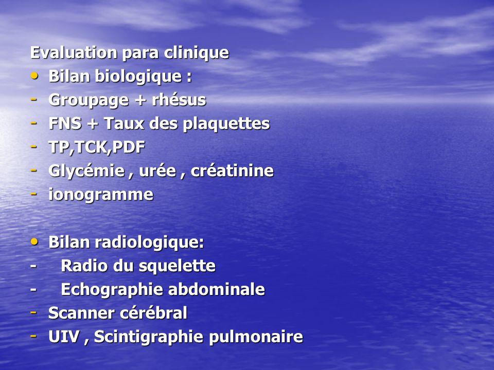 Evaluation para clinique Bilan biologique : Bilan biologique : - Groupage + rhésus - FNS + Taux des plaquettes - TP,TCK,PDF - Glycémie, urée, créatini