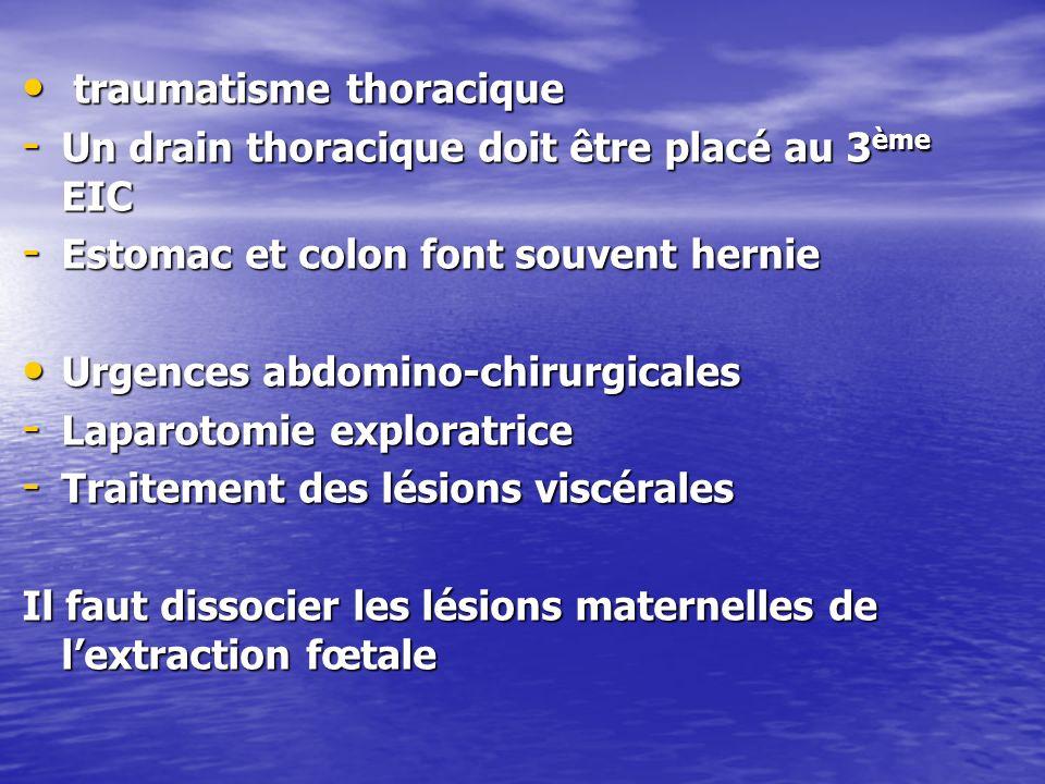 traumatisme thoracique traumatisme thoracique - Un drain thoracique doit être placé au 3 ème EIC - Estomac et colon font souvent hernie Urgences abdom