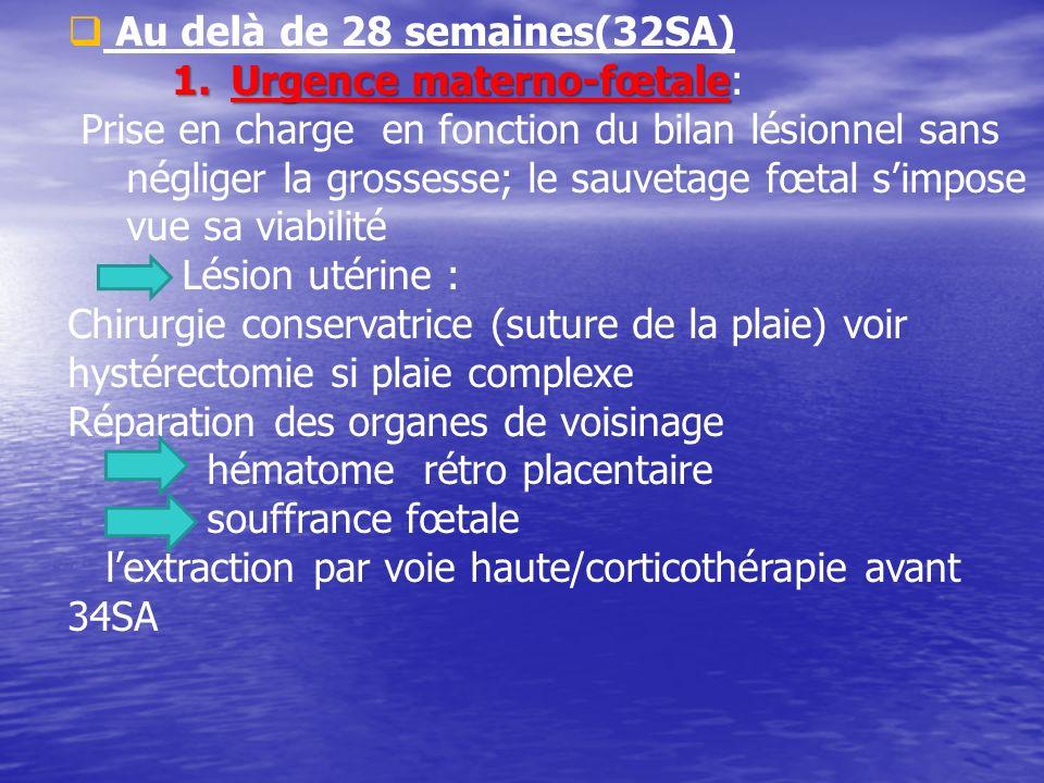 Au delà de 28 semaines(32SA) 1.Urgence materno-fœtale 1.Urgence materno-fœtale: Prise en charge en fonction du bilan lésionnel sans négliger la grosse