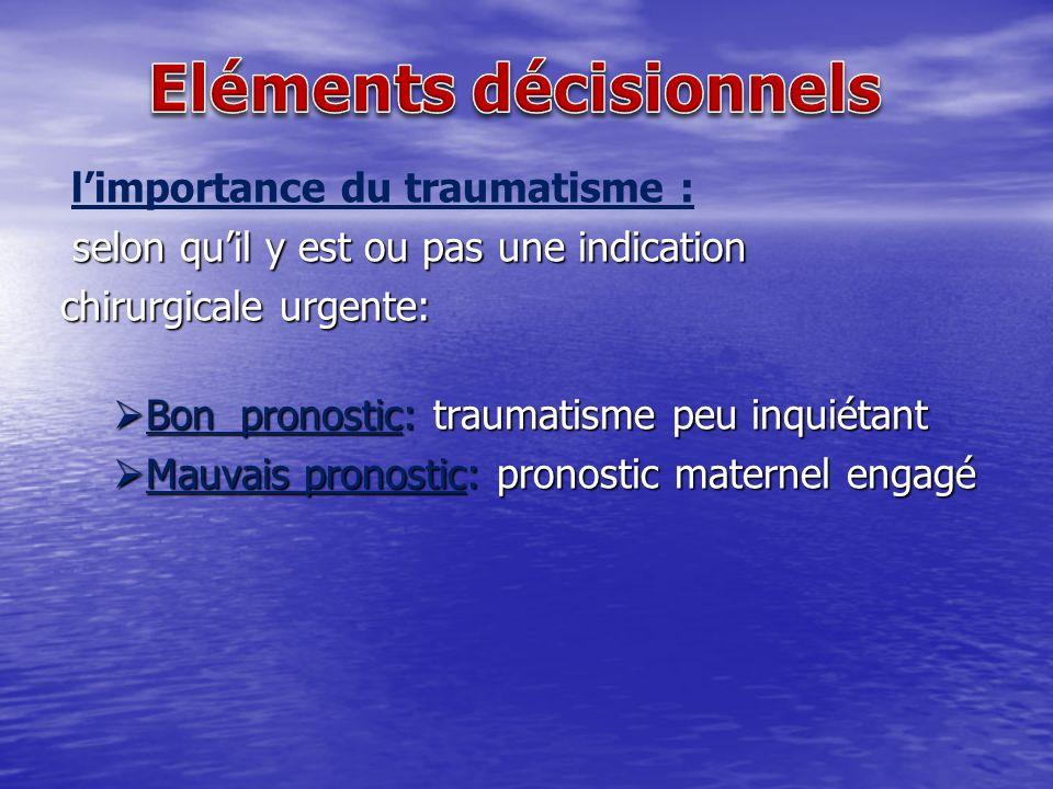 Traitement spécifique traumatisme crânien: traumatisme crânien: - La prise en charge doit refléter les décisions dune équipe spécialisé ( réanimateur, neuro chirurgien, obstétricien, anesthésiste ) - Les choix sont dictés par le degré de sévérité des désordres de la conscience et des lésions cérébrales - Coma traumatique grave et prolongé * incertitude du devenir maternel * incertitude du devenir maternel * la prise en charge ne diffère pas de celle qui est habituelle dans de pareilles circonstances * la prise en charge ne diffère pas de celle qui est habituelle dans de pareilles circonstances - Les indications neuro -chirurgicales obéissent aux règles ordinaires et restent indépendantes de la situation obstétricale