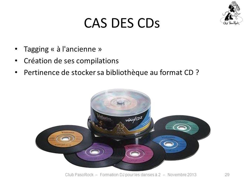 CAS DES CDs Tagging « à l'ancienne » Création de ses compilations Pertinence de stocker sa bibliothèque au format CD ? Club PasoRock – Formation DJ po