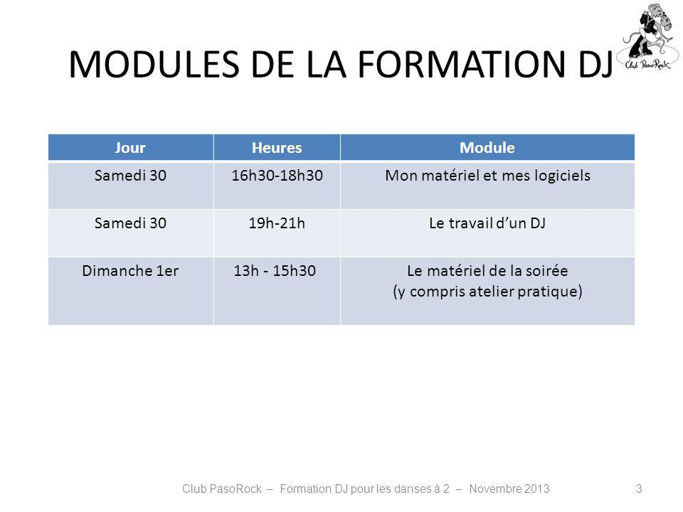 MODULES DE LA FORMATION DJ JourHeuresModule Samedi 3016h30-18h30Mon matériel et mes logiciels Samedi 3019h-21hLe travail dun DJ Dimanche 1er13h - 15h3