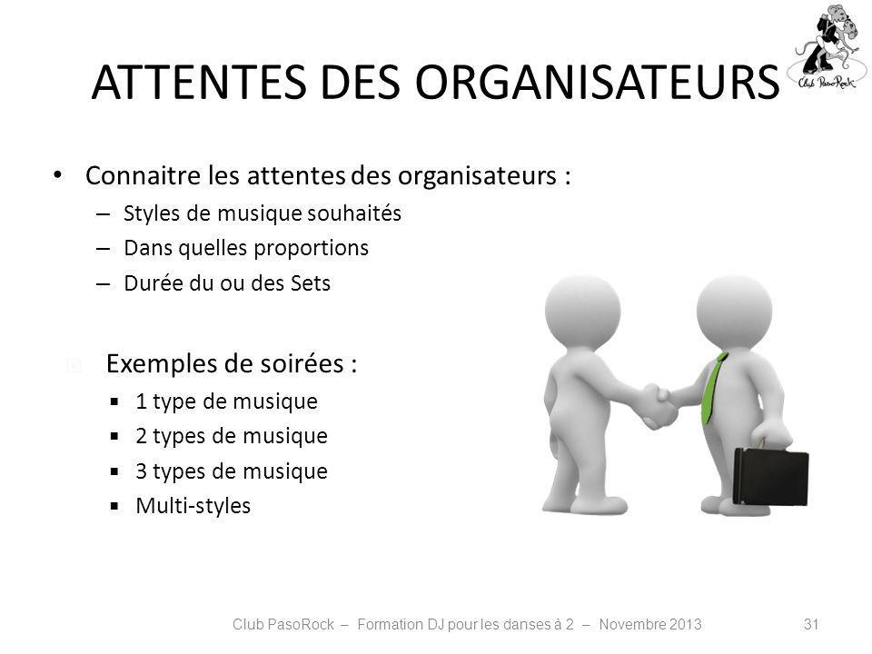 ATTENTES DES ORGANISATEURS Connaitre les attentes des organisateurs : – Styles de musique souhaités – Dans quelles proportions – Durée du ou des Sets