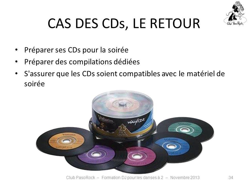 CAS DES CDs, LE RETOUR Préparer ses CDs pour la soirée Préparer des compilations dédiées S'assurer que les CDs soient compatibles avec le matériel de