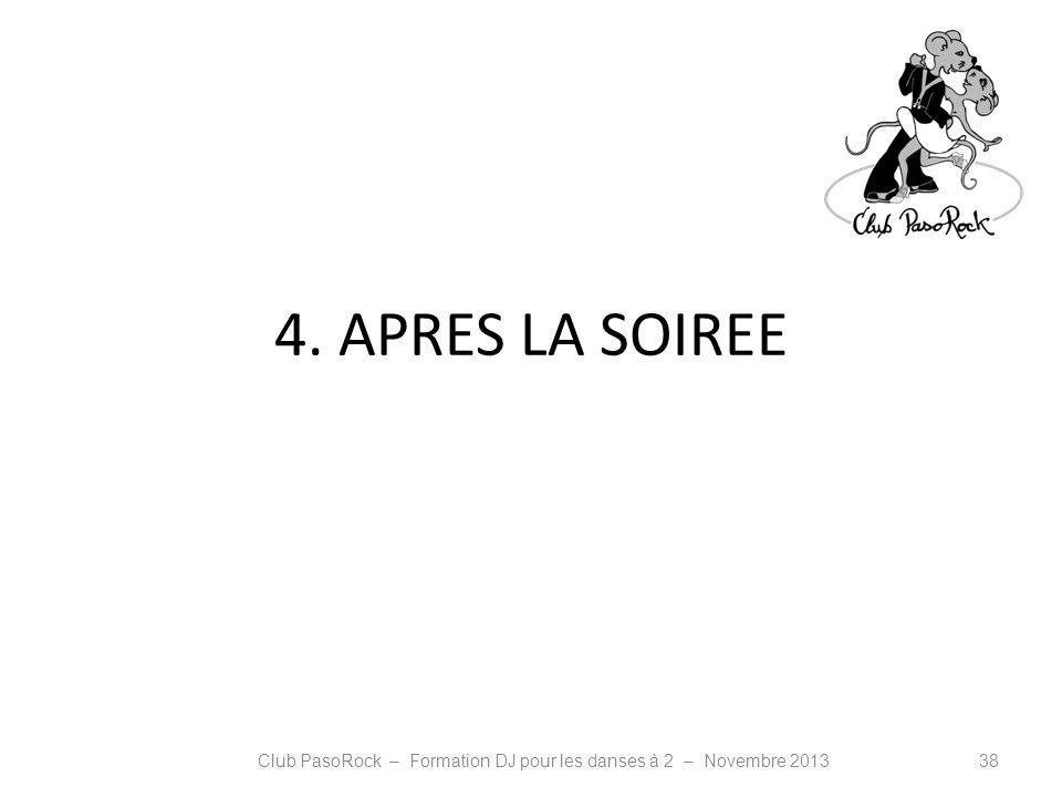 4. APRES LA SOIREE Club PasoRock – Formation DJ pour les danses à 2 – Novembre 201338