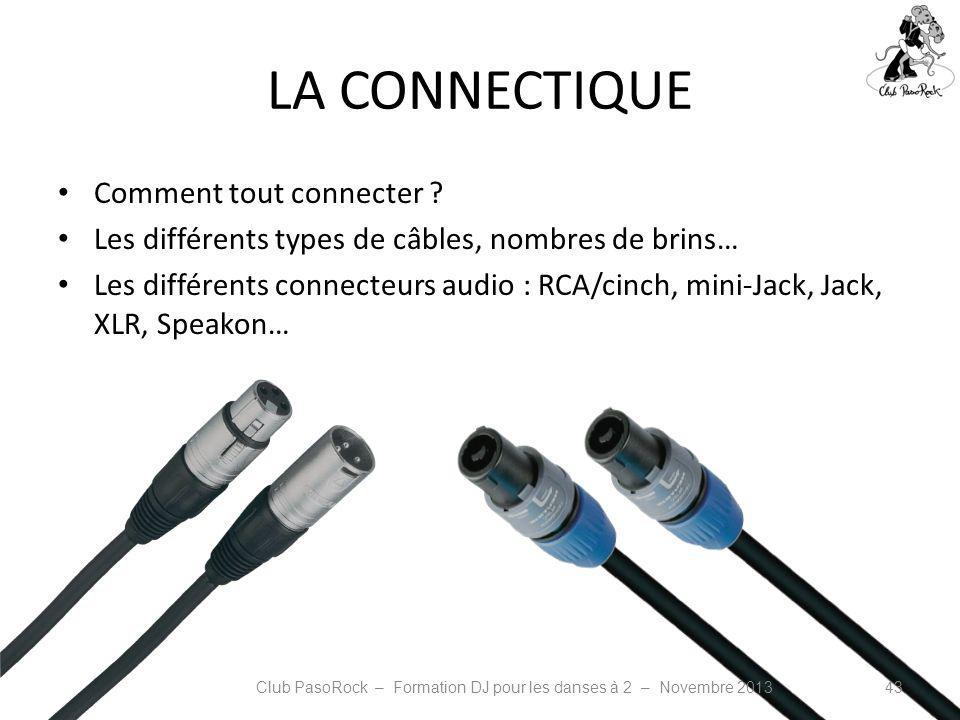 LA CONNECTIQUE Comment tout connecter ? Les différents types de câbles, nombres de brins… Les différents connecteurs audio : RCA/cinch, mini-Jack, Jac