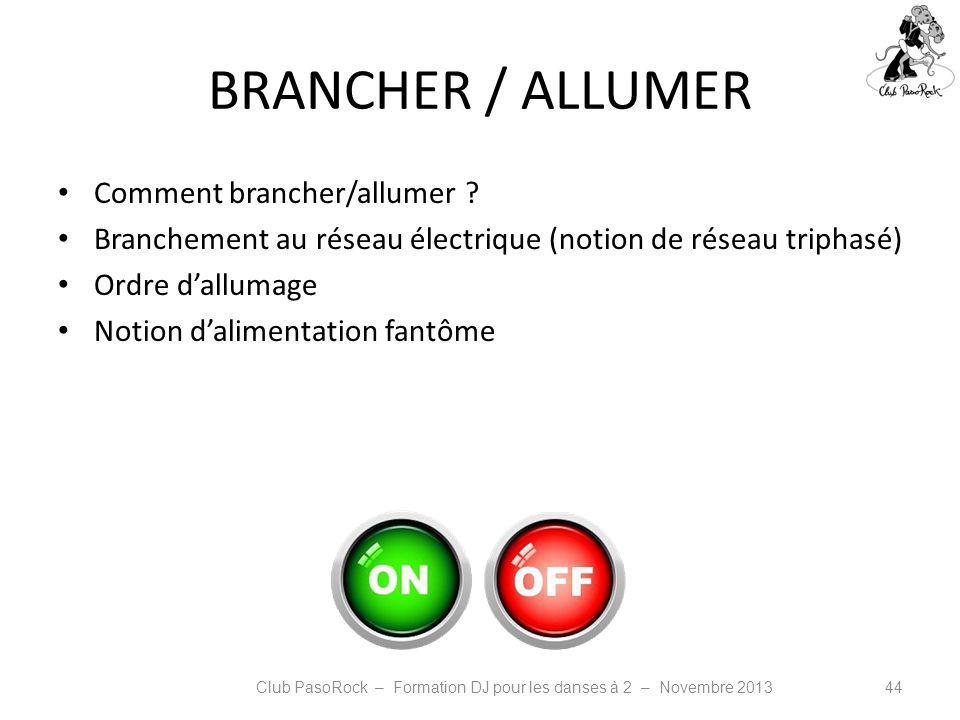 BRANCHER / ALLUMER Comment brancher/allumer ? Branchement au réseau électrique (notion de réseau triphasé) Ordre dallumage Notion dalimentation fantôm