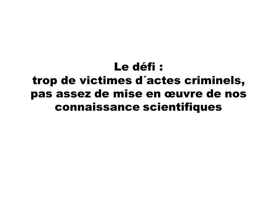 Le défi : trop de victimes d´actes criminels, pas assez de mise en œuvre de nos connaissance scientifiques
