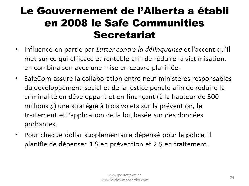 Le Gouvernement de lAlberta a établi en 2008 le Safe Communities Secretariat Influencé en partie par Lutter contre la délinquance et laccent quil met sur ce qui efficace et rentable afin de réduire la victimisation, en combinaison avec une mise en œuvre planifiée.