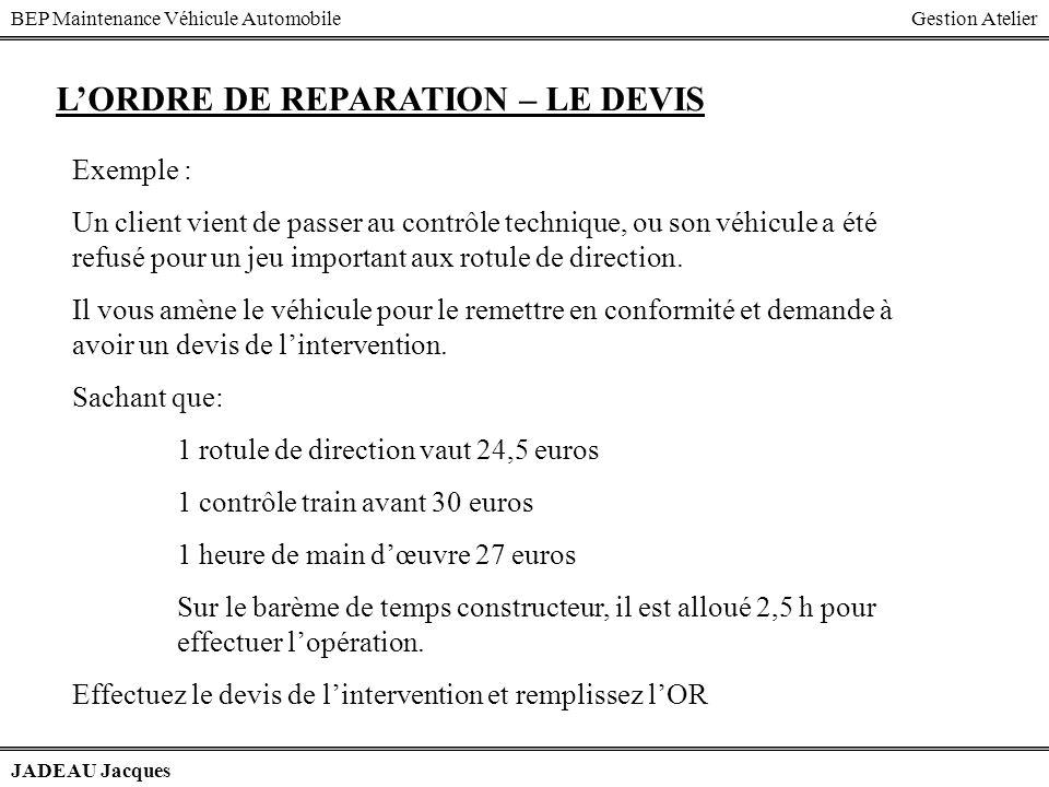 BEP Maintenance Véhicule AutomobileGestion Atelier JADEAU Jacques LORDRE DE REPARATION – LE DEVIS Exemple : Un client vient de passer au contrôle tech