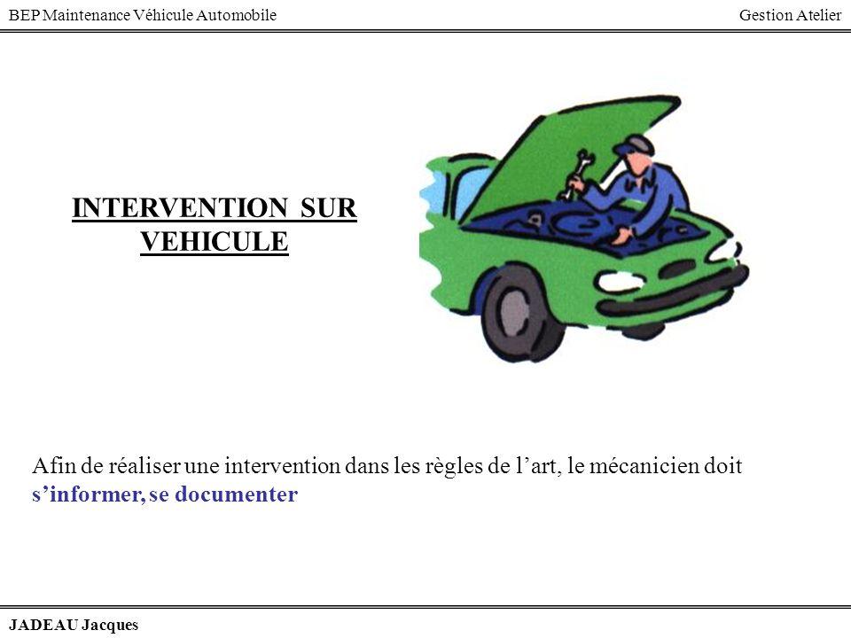BEP Maintenance Véhicule AutomobileGestion Atelier JADEAU Jacques INTERVENTION SUR VEHICULE Afin de réaliser une intervention dans les règles de lart,