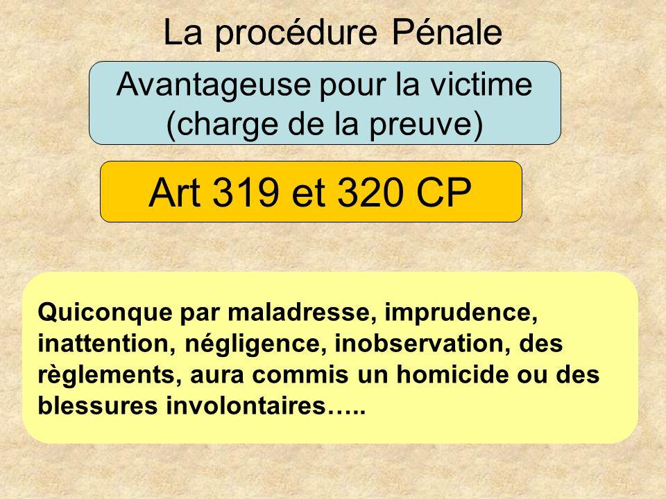 Avantageuse pour la victime (charge de la preuve) La procédure Pénale Quiconque par maladresse, imprudence, inattention, négligence, inobservation, de
