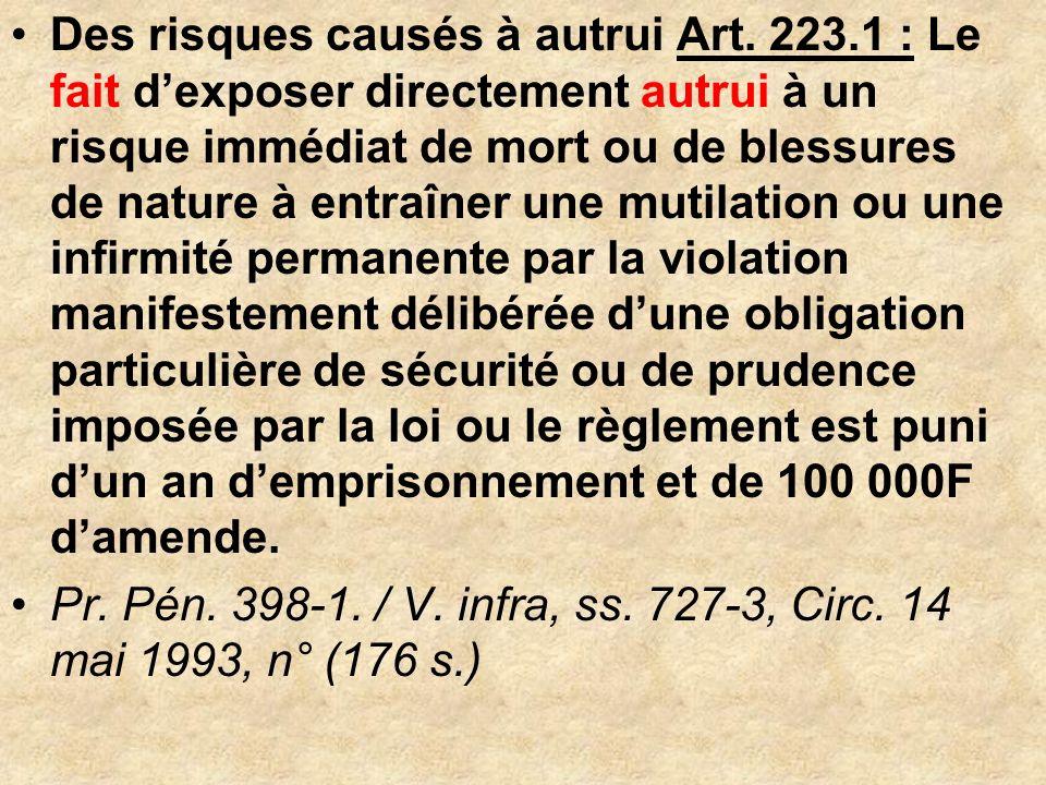 Des risques causés à autrui Art. 223.1 : Le fait dexposer directement autrui à un risque immédiat de mort ou de blessures de nature à entraîner une mu