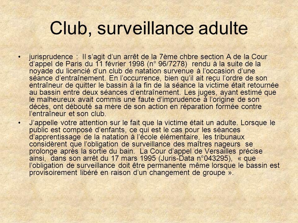 Club, surveillance adulte jurisprudence : Il sagit dun arrêt de la 7ème chbre section A de la Cour dappel de Paris du 11 février 1998 (n° 96/7278) ren