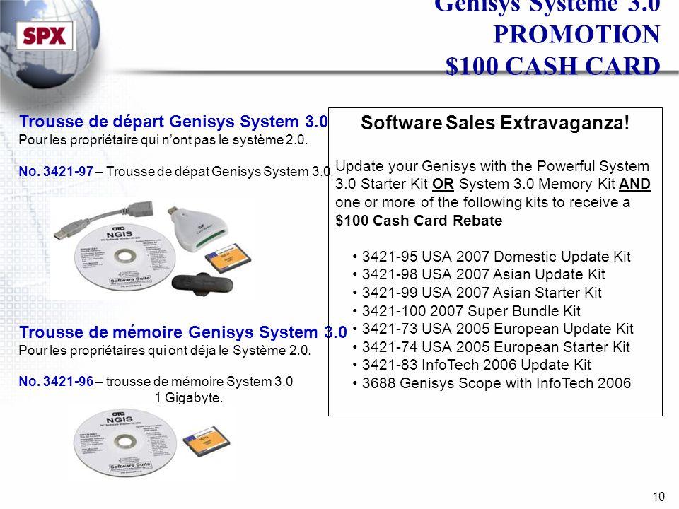 10 Genisys Système 3.0 PROMOTION $100 CASH CARD Trousse de départ Genisys System 3.0 Pour les propriétaire qui nont pas le système 2.0.