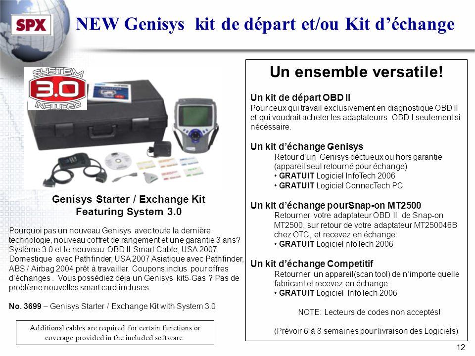 12 NEW Genisys kit de départ et/ou Kit déchange Genisys Starter / Exchange Kit Featuring System 3.0 Pourquoi pas un nouveau Genisys avec toute la dernière technologie, nouveau coffret de rangement et une garantie 3 ans.