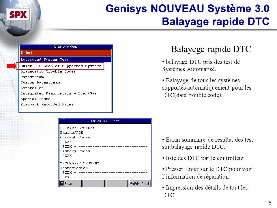 5 Genisys NOUVEAU Système 3.0 Balayage rapide DTC Balayege rapide DTC balayage DTC pris des test de Systèmes Automatisé.