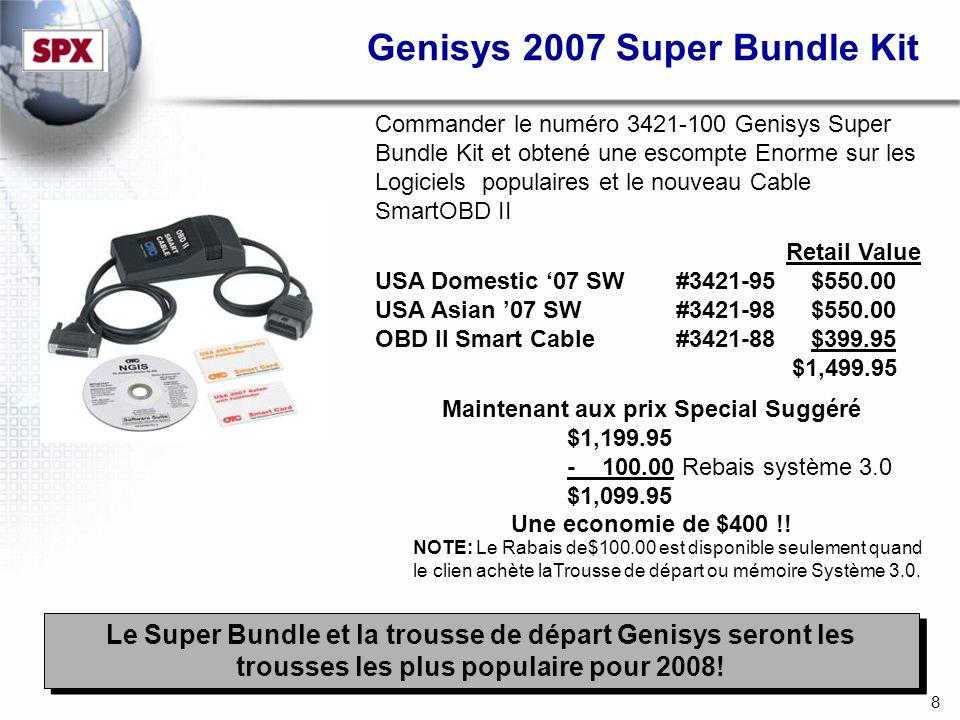 8 Commander le numéro 3421-100 Genisys Super Bundle Kit et obtené une escompte Enorme sur les Logiciels populaires et le nouveau Cable SmartOBD II Retail Value USA Domestic 07 SW #3421-95 $550.00 USA Asian 07 SW #3421-98 $550.00 OBD II Smart Cable #3421-88 $399.95 $1,499.95 Maintenant aux prix Special Suggéré $1,199.95 - 100.00 Rebais système 3.0 $1,099.95 Une economie de $400 !.