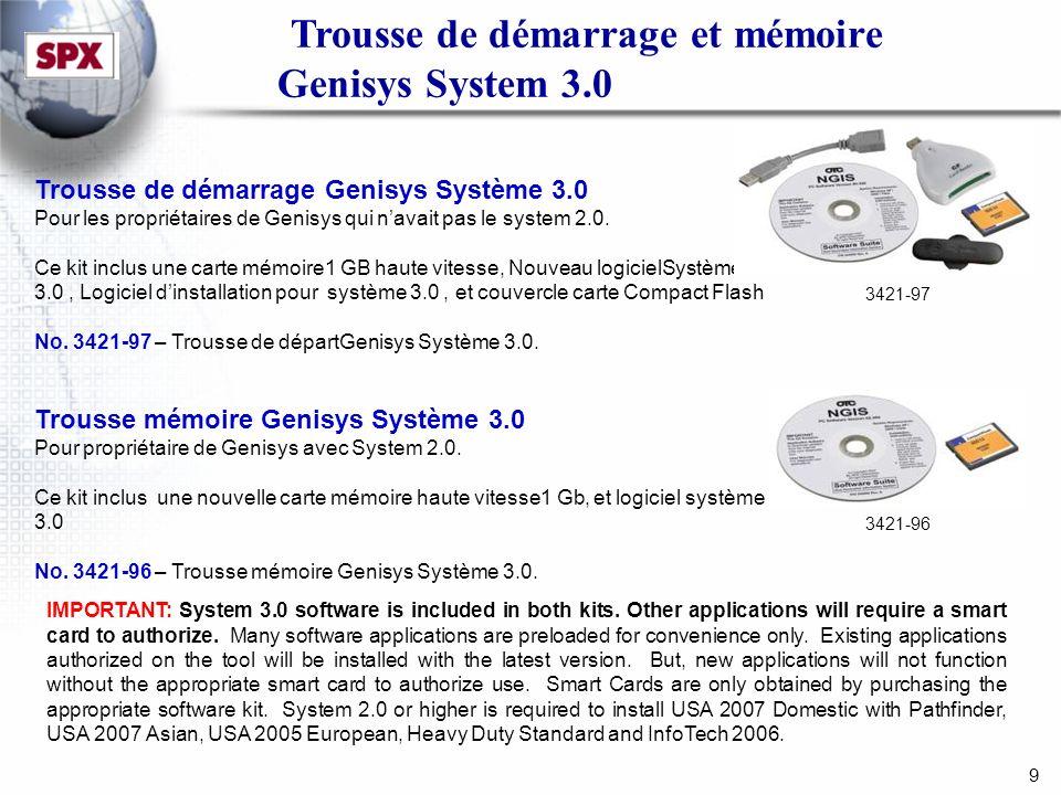 9 Trousse de démarrage et mémoire Genisys System 3.0 Trousse de démarrage Genisys Système 3.0 Pour les propriétaires de Genisys qui navait pas le system 2.0.