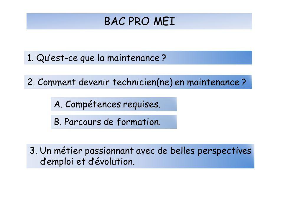 BAC PRO MEI 1. Quest-ce que la maintenance ? 2. Comment devenir technicien(ne) en maintenance ? A. Compétences requises. B. Parcours de formation. 3.