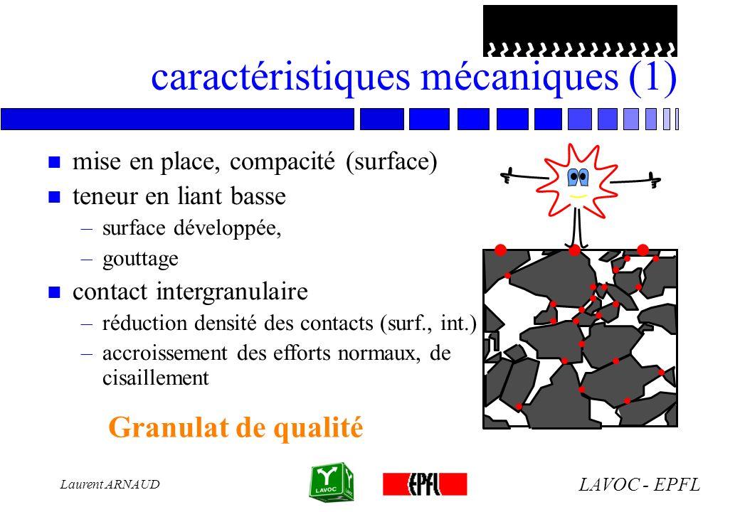 LAVOC - EPFL Laurent ARNAUD caractéristiques mécaniques (1) n mise en place, compacité (surface) n teneur en liant basse –surface développée, –gouttag