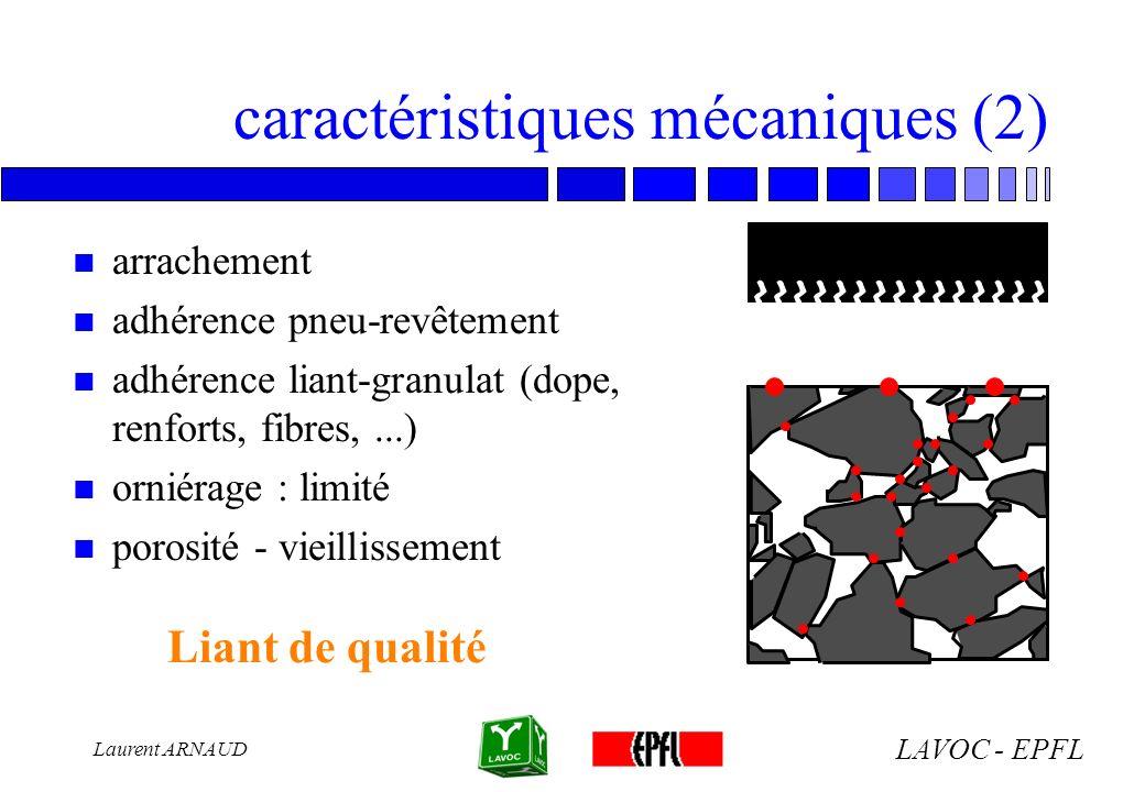 LAVOC - EPFL Laurent ARNAUD caractéristiques mécaniques (2) n arrachement n adhérence pneu-revêtement n adhérence liant-granulat (dope, renforts, fibr