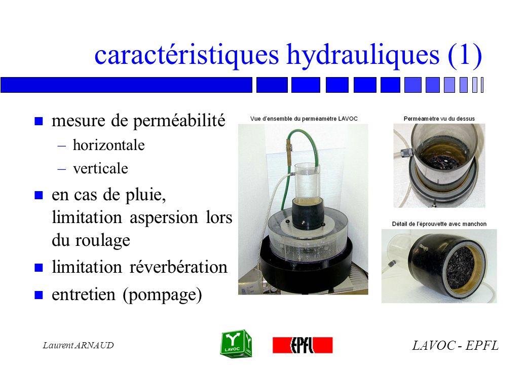 LAVOC - EPFL Laurent ARNAUD caractéristiques hydrauliques (1) n mesure de perméabilité –horizontale –verticale n en cas de pluie, limitation aspersion