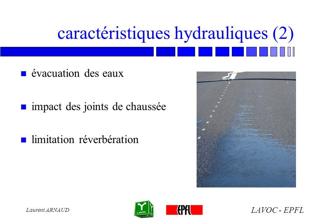 LAVOC - EPFL Laurent ARNAUD caractéristiques hydrauliques (2) n évacuation des eaux n impact des joints de chaussée n limitation réverbération