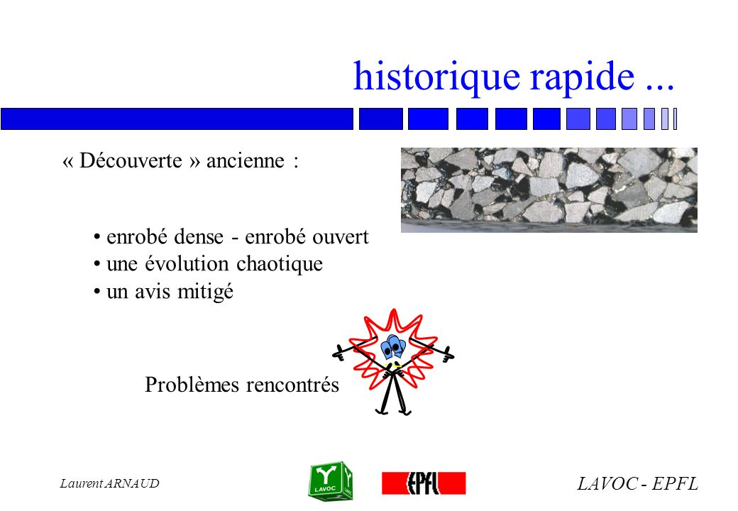 LAVOC - EPFL Laurent ARNAUD historique rapide... « Découverte » ancienne : enrobé dense - enrobé ouvert une évolution chaotique un avis mitigé Problèm