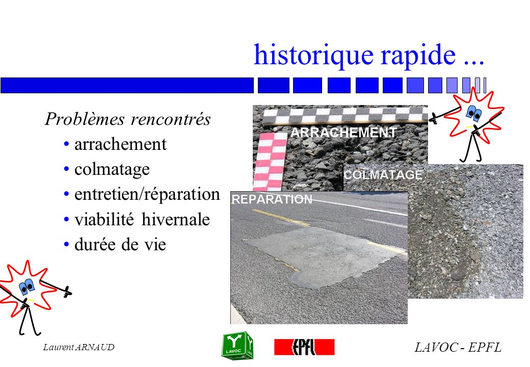 LAVOC - EPFL Laurent ARNAUD approche physique de ce matériau n Teneur en vides 14 - 30% communicants > 15% n Granulométrie discontinue: faible prop.