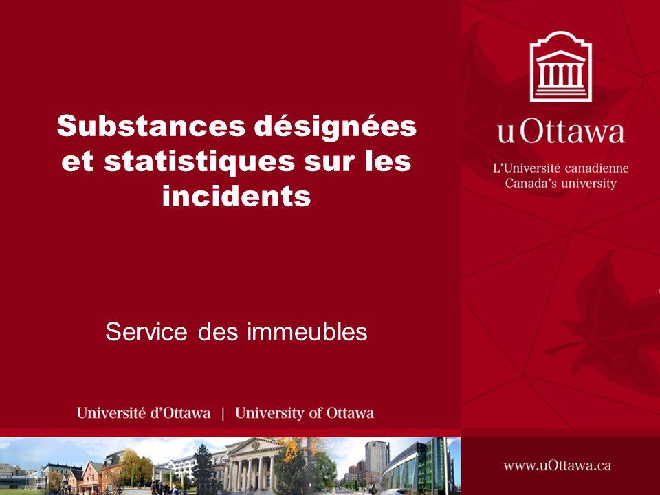 Substances désignées et statistiques sur les incidents Service des immeubles