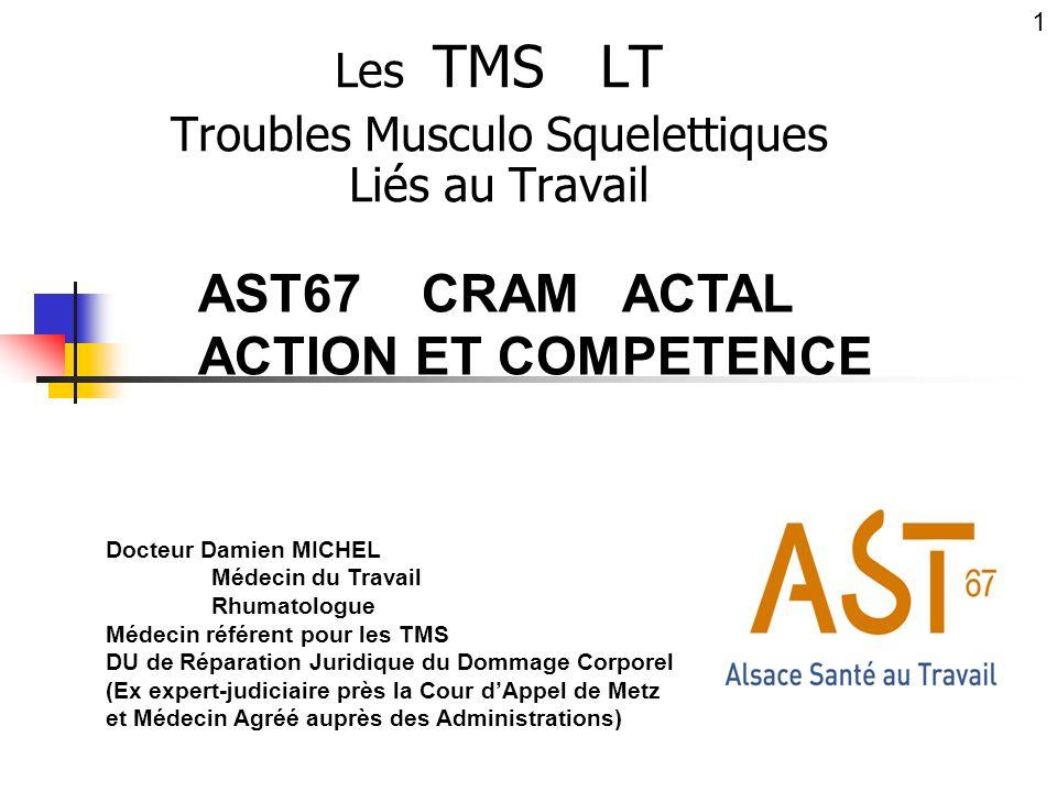 Les TMS LT Troubles Musculo Squelettiques Liés au Travail Docteur Damien MICHEL Médecin du Travail Rhumatologue Médecin référent pour les TMS DU de Ré