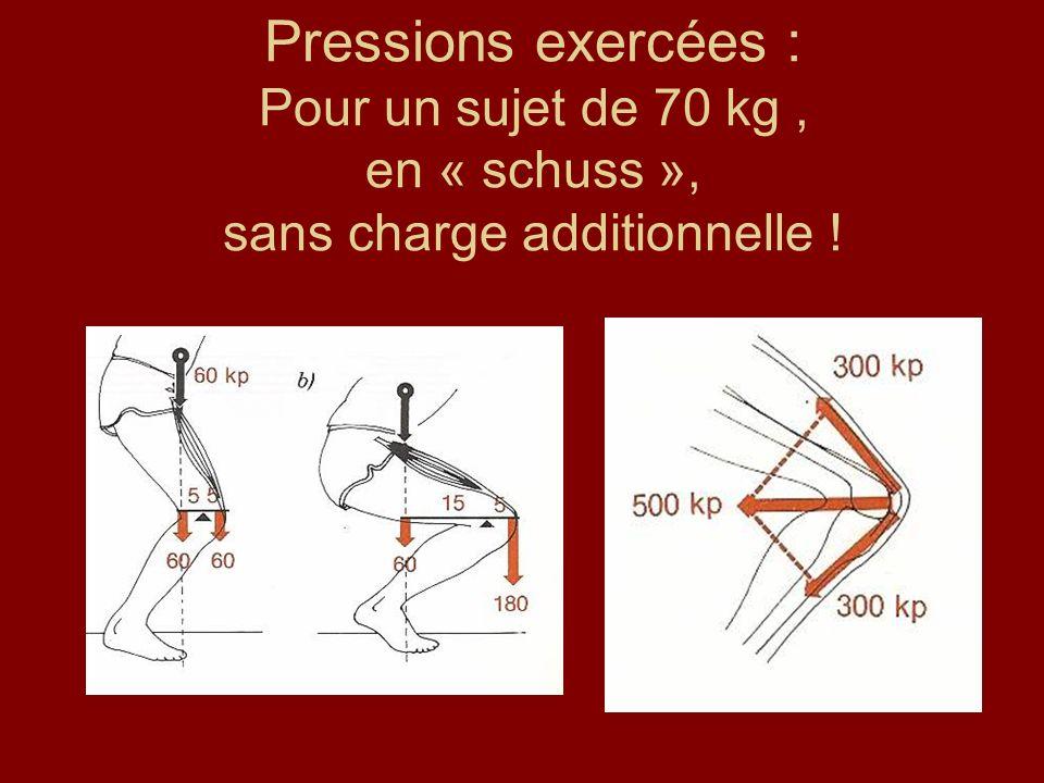 Pressions exercées : Pour un sujet de 70 kg, en « schuss », sans charge additionnelle !