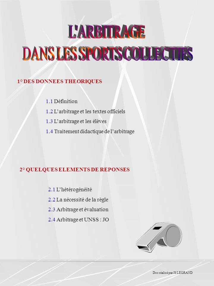 1° DES DONNEES THEORIQUES 1.1 Définition 1.2 Larbitrage et les textes officiels 1.3 Larbitrage et les élèves 1.4 Traitement didactique de larbitrage 2