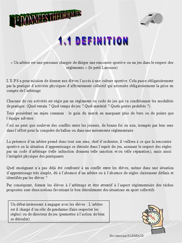 « Un arbitre est une personne chargée de diriger une rencontre sportive ou un jeu dans le respect des règlements » (le petit Larousse) LE.P.S a pour m