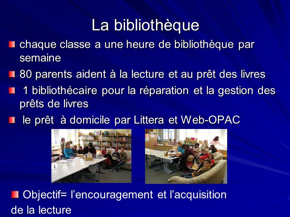 La bibliothèque chaque classe a une heure de bibliothèque par semaine 80 parents aident à la lecture et au prêt des livres 1 bibliothécaire pour la réparation et la gestion des prêts de livres 1 bibliothécaire pour la réparation et la gestion des prêts de livres le prêt à domicile par Littera et Web-OPAC le prêt à domicile par Littera et Web-OPAC Objectif= lencouragement et lacquisition de la lecture