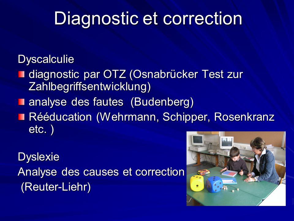 Diagnostic et correction Dyscalculie diagnostic par OTZ (Osnabrücker Test zur Zahlbegriffsentwicklung) analyse des fautes (Budenberg) Rééducation (Wehrmann, Schipper, Rosenkranz etc.
