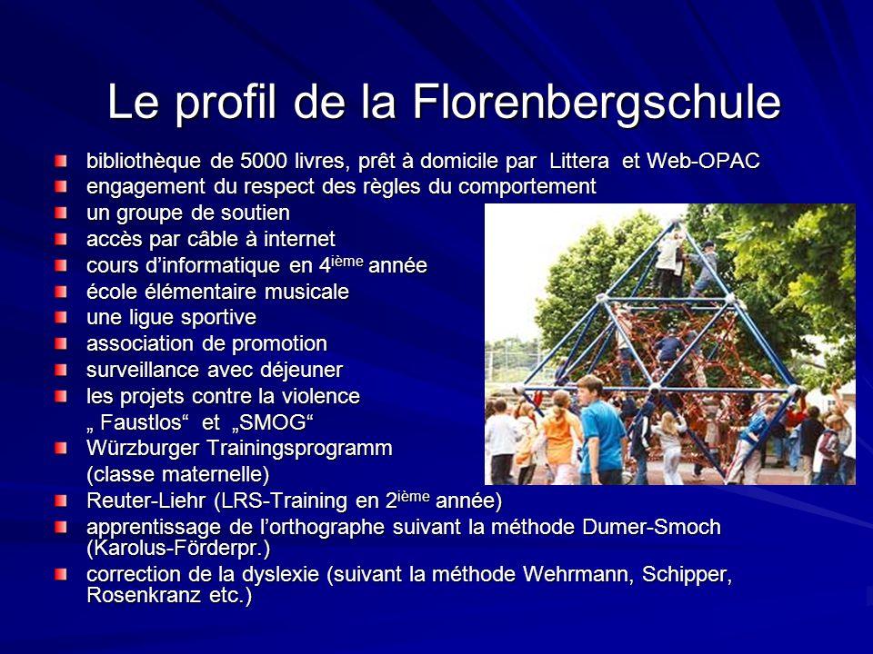 Le profil de la Florenbergschule bibliothèque de 5000 livres, prêt à domicile par Littera et Web-OPAC engagement du respect des règles du comportement