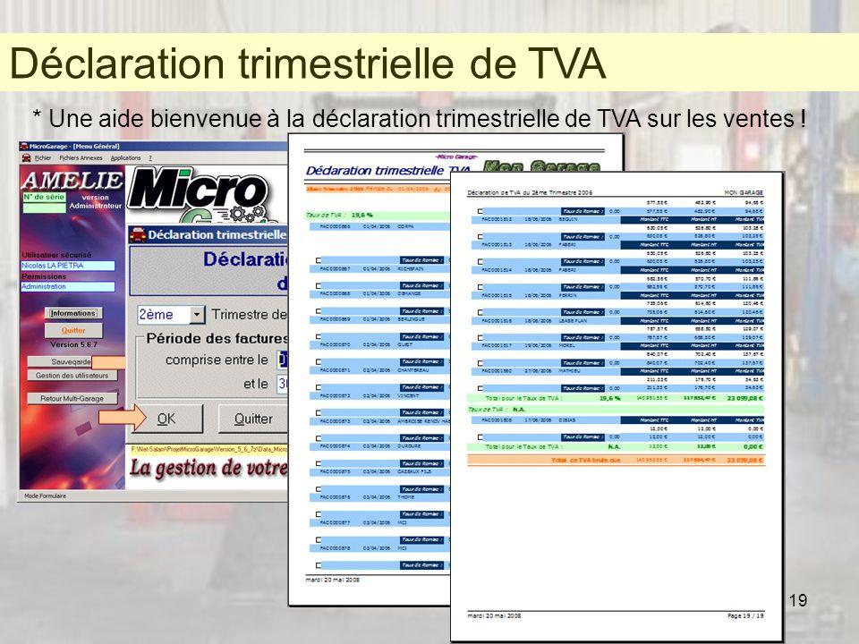19 Déclaration trimestrielle de TVA * Une aide bienvenue à la déclaration trimestrielle de TVA sur les ventes ! Déclaration trimestrielle de TVA