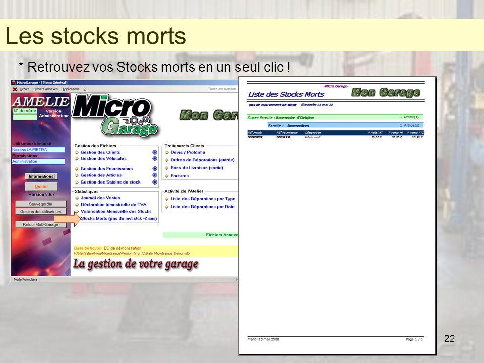 22 Les stocks morts * Retrouvez vos Stocks morts en un seul clic ! Les stocks morts
