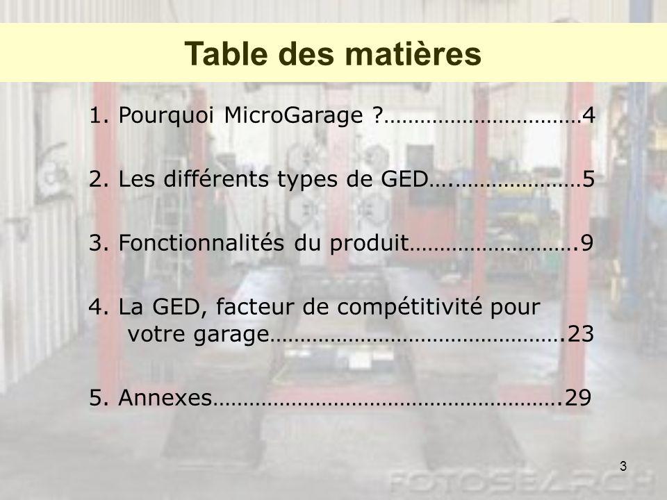 3 Table des matières 1. Pourquoi MicroGarage ?……………………………4 2. Les différents types de GED….…………………5 3. Fonctionnalités du produit……………………….9 4. La GED