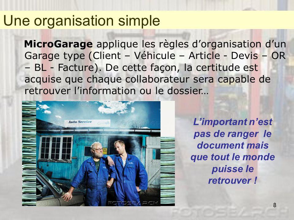 8 MicroGarage applique les règles dorganisation dun Garage type (Client – Véhicule – Article - Devis – OR – BL - Facture). De cette façon, la certitud