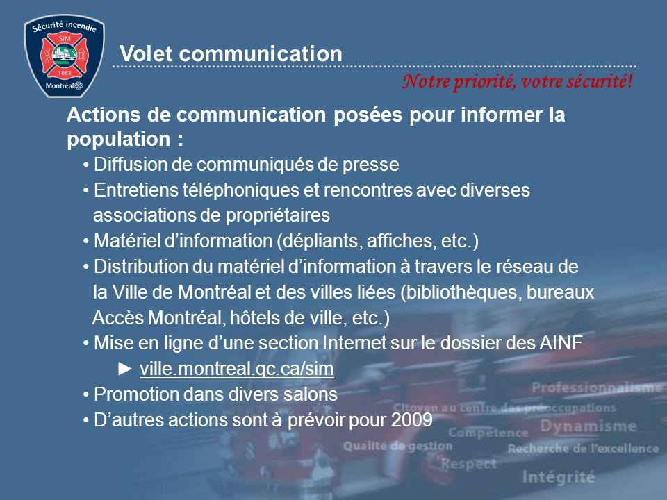 Notre priorité, votre sécurité! Volet communication Diffusion de communiqués de presse Entretiens téléphoniques et rencontres avec diverses associatio