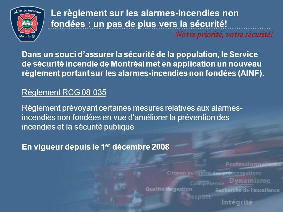 Dans un souci dassurer la sécurité de la population, le Service de sécurité incendie de Montréal met en application un nouveau règlement portant sur l