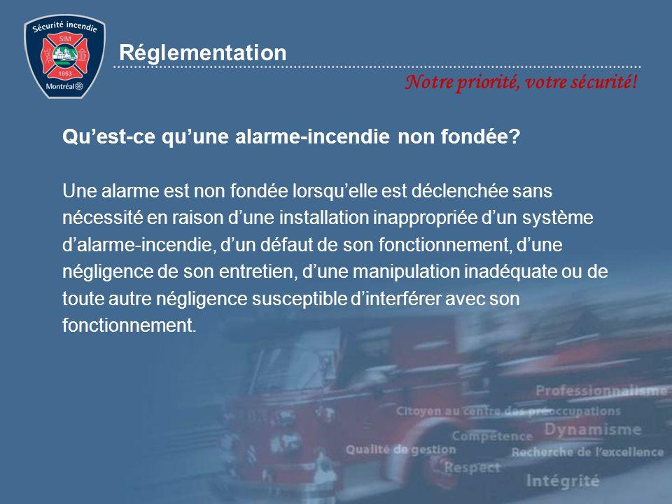 Réglementation Notre priorité, votre sécurité! Quest-ce quune alarme-incendie non fondée? Une alarme est non fondée lorsquelle est déclenchée sans néc
