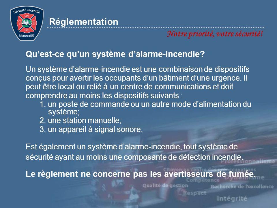 Réglementation Notre priorité, votre sécurité! Un système dalarme-incendie est une combinaison de dispositifs conçus pour avertir les occupants dun bâ