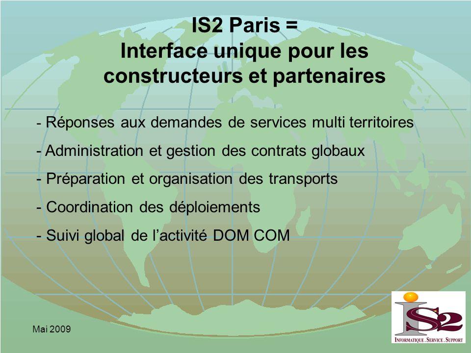 Mai 2009 IS2 Paris = Interface unique pour les constructeurs et partenaires - Réponses aux demandes de services multi territoires - Administration et