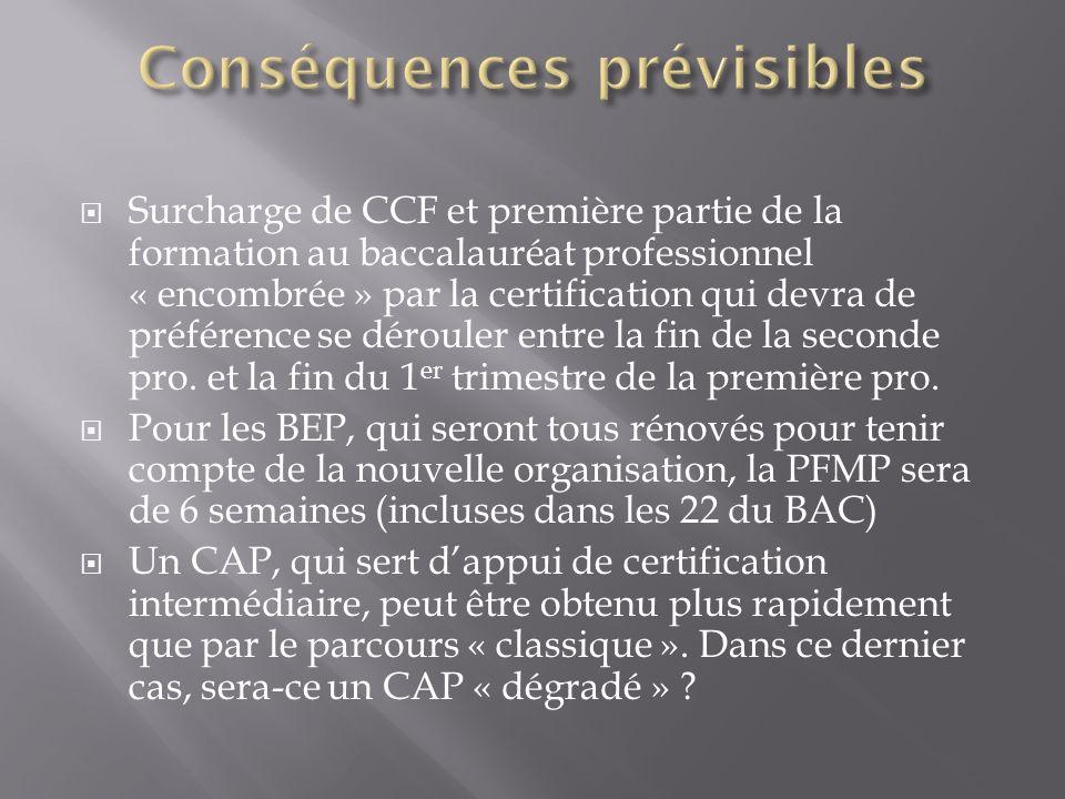 Surcharge de CCF et première partie de la formation au baccalauréat professionnel « encombrée » par la certification qui devra de préférence se déroul